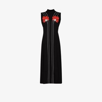 Prada Peony Print Sleeveless Midi Dress
