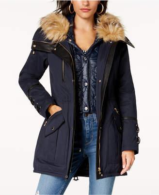 GUESS Hooded Faux-Fur-Trim Anorak