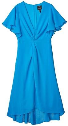 Adrianna Papell Twist Front Gauzy Crepe Dress (Electric Blue) Women's Dress