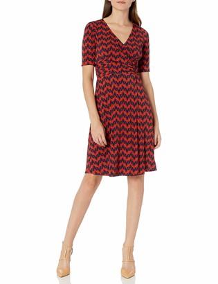 Donna Morgan Women's Matte Jersey Geometric Print Faux Wrap Dress