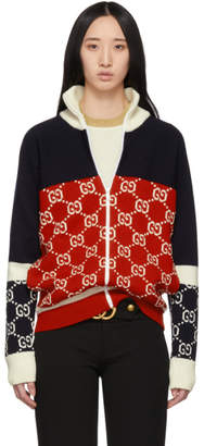 Gucci Navy and Red GG Zip-Up Sweater