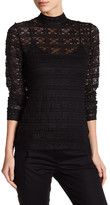 Laundry by Shelli Segal Mock Neck Knit Lace Blouse