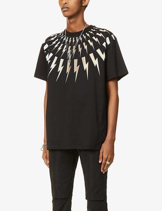 Neil Barrett Fairisle graphic-print cotton-jersey T-shirt