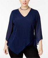 Alfani Plus Size Multi-Texture Asymmetric-Overlay Top, Only at Macy's
