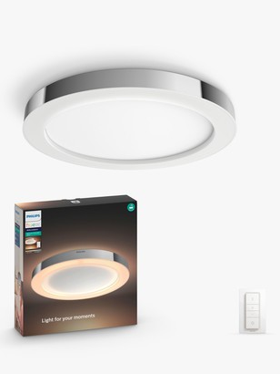 Philips Hue White Ambiance Adore LED Semi Flush Bathroom Ceiling Light and Dimmer Switch, Chrome