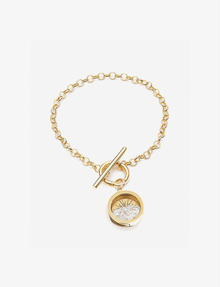 Rachel Jackson Sunburst 22ct gold-plated and moonstone bracelet