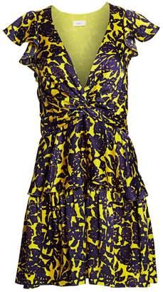 A.L.C. Viera Floral Silk V-Neck Dress