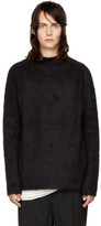 Rick Owens Black Oversized Jacquard Mohair Sweater