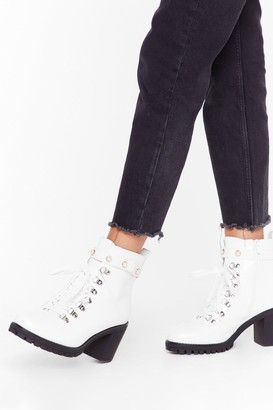 Nasty Gal Womens Tumble and Pearl Heeled Hiker Boots - White