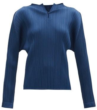 Pleats Please Issey Miyake Keyhole-neck Technical-pleated Top - Dark Blue