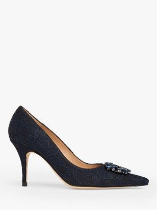 LK Bennett Harmony Jewelled Court Shoes, Black/Navy