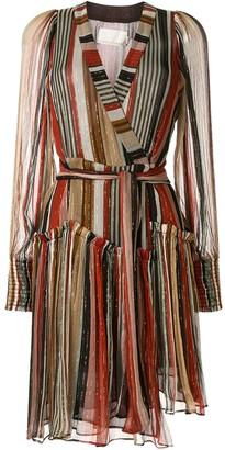 Ginger & Smart long-sleeved striped wrap dress