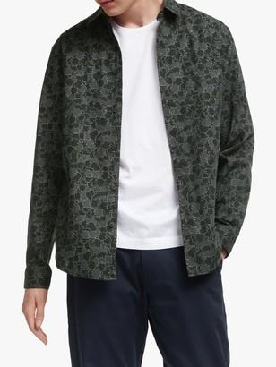 It's All Good Folk Leaf Print Long Sleeve Holiday Shirt, Green
