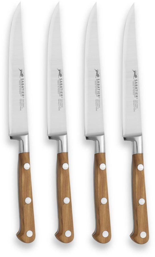 Sabatier Wood 4-Piece Steak Knife Set in Olive