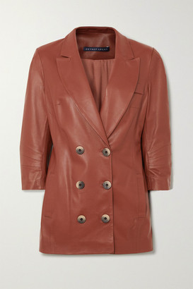 Zeynep Arcay - Double-breasted Leather Blazer - Brown