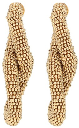 Oscar de la Renta Beaded interlocking earrings