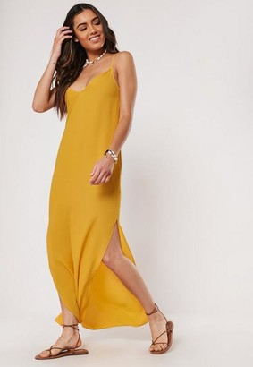 Missguided Mustard Strappy Side Split Maxi Dress