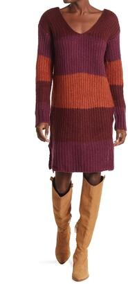 Stitchdrop Blocked V-Neck Sweater Dress