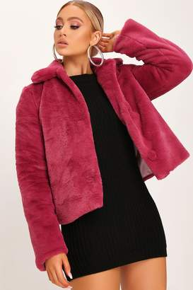 I SAW IT FIRST Rose Short Faux Fur Coat