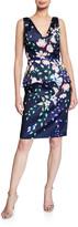 Marchesa Floral Mikado V-Neck Sleeveless Peplum Dress