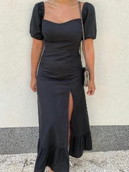 Creoate - Maxi Cotton Puff Sleeve Dress - black | XS (UK 4 - 6) - Black/Black