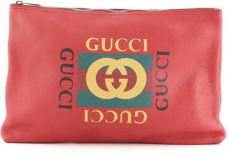 Gucci Logo Portfolio Clutch Printed Leather Large