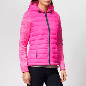 Superdry Women's Storm Hybrid Zip Hood Jacket - Vibe Pink/Vibe Pink Grit - UK 10 - Pink