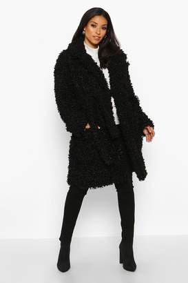 boohoo Maternity Teddy Faux Fur Wrap Coat