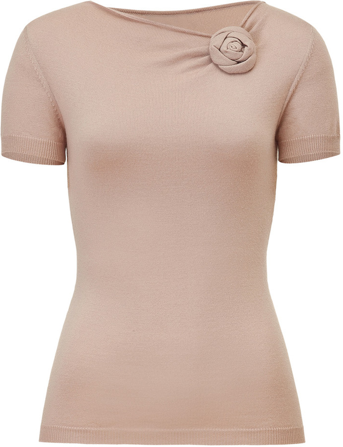 Valentino Rosewood Draped Wool Knit Top