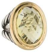 David Yurman Two-Tone Prasiolite Signature Oval Ring