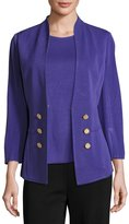 Misook 3/4-Sleeve Button-Front Jacket, Grape Royale