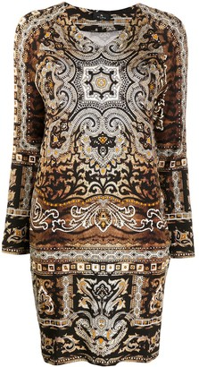 Etro Paisley Long-Sleeve Mini Dress