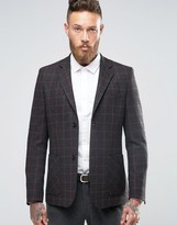 Asos Skinny Blazer in Charcoal With Gray And Red Check