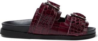 Ganni Buckled Croc-effect Leather Slides