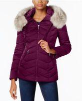 T Tahari Faux-Fur-Trim Hooded Coat