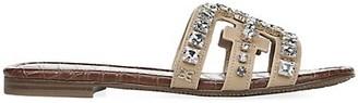 Sam Edelman Bay Flat Crystal-Embellished Leather Sandals