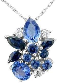 LeVian Le Vian 14K Vanilla Gold? Cornflower Ceylon SapphireTM, Blueberry SapphireTM & Vanilla Diamonds? Pendant Necklace