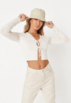 Missguided Cream Co Ord Textured Cardigan