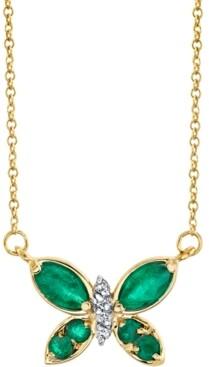 "Macy's Emerald (5/8 ct. t.w.) & Diamond (1/20 ct. t.w.) Butterfly 18"" Pendant Necklace in 14k Gold"