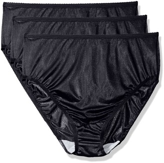 Shadowline Women's Plus-Size Panties-Hi Cut Nylon Brief (3 Pack)