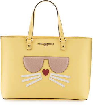Karl Lagerfeld Paris Maybelle Saffiano Leather Choupette Tote Bag