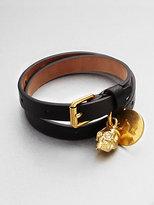 Alexander McQueen Skull Accented Double Wrap Leather Bracelet