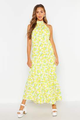boohoo Woven Lemon Ruffle Halter Neck Maxi Dress