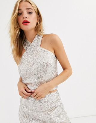Lipsy sequin metallic wrapover crop top in gold