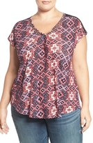 Lucky Brand Lace Inset V-Neck Top (Plus Size)