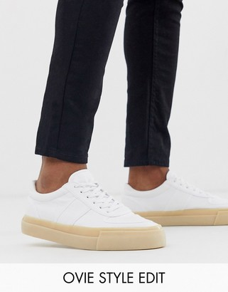 Asos DESIGN sneakers in white canvas with gum sole