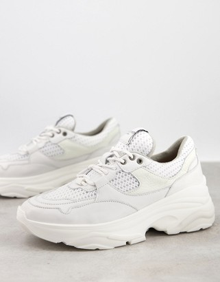 Selected chunky leather sneakers with sports mesh in white