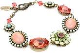 "Liz Palacios Crystales Opalos"" Multi-Flower Crystal and Cabochon Chain Bracelet, 8"""