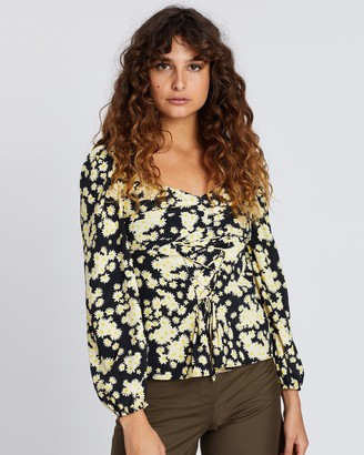 Topshop Daisy Lace-Up Prairie Blouse