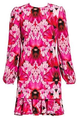 Alexander McQueen Orchid Print Silk Shift Dress